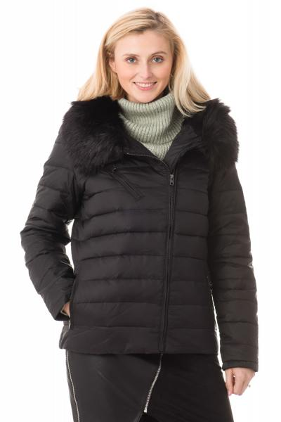 Damen-Daunenjacke Schott  aus schwarzem Nylon
