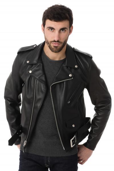 Perfecto Schott  homme en cuir de vachette noir               title=