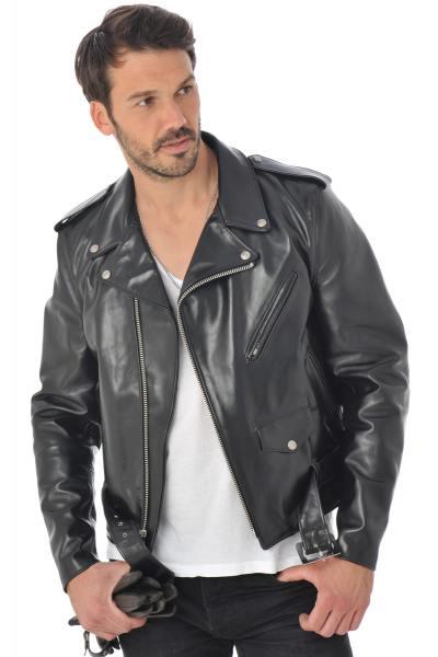 Perfecto Schott homme en cuir de cheval noir              title=