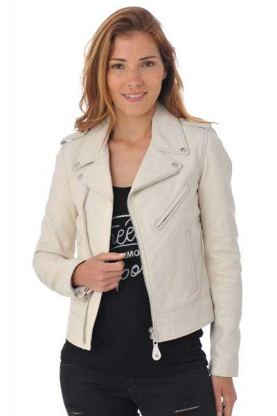 Perfecto femme Schott blanc en cuir d'agneau              title=