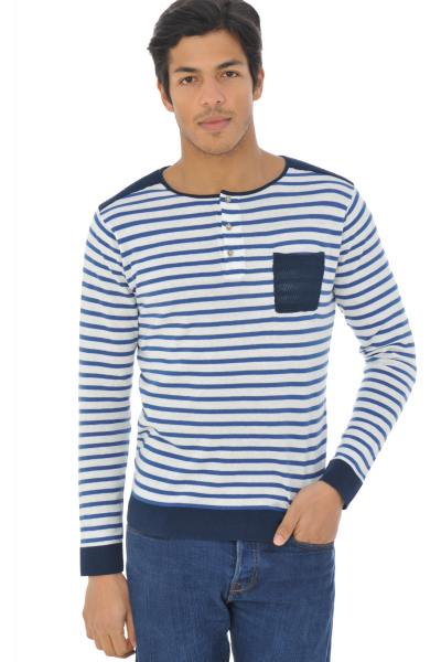 geringeltes SAweat-Shirt mit Tasche              title=