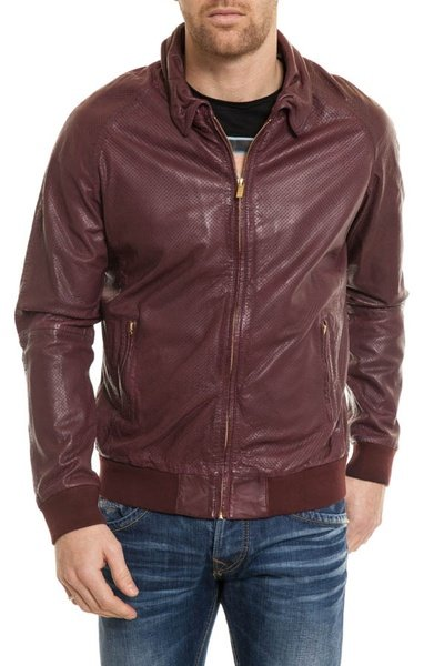 pflaumenfarbene Herrenjacke Scotch& Soda aus Lammleder              title=