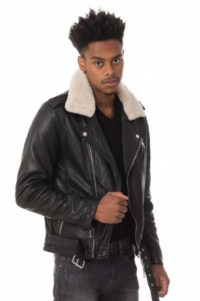 Blouson Homme Serge Pariente ROCKER BLACK COL MOUTON ZZ