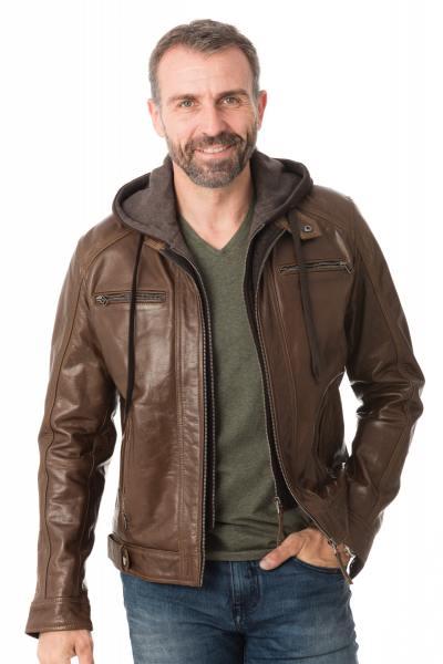 Blouson Serge Pariente en cuir marron               title=