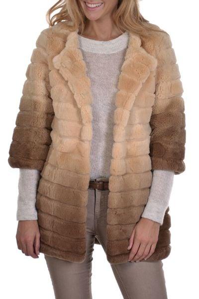 Damen Mantel aus beigefarbenen Kaninchenfell von Serge Pariente              title=
