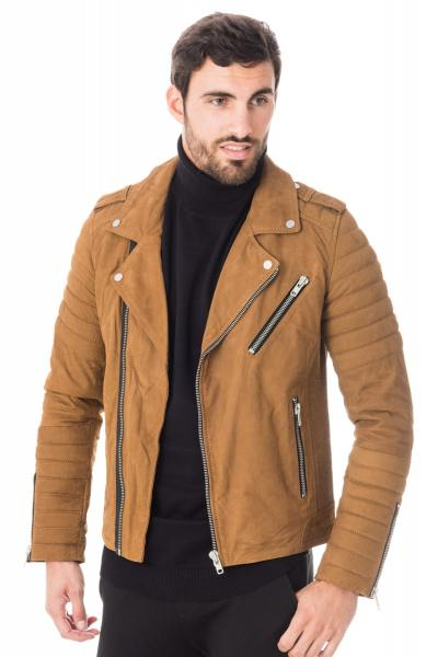 Perfecto cuir de buffle nubuck camel Serge Pariente              title=