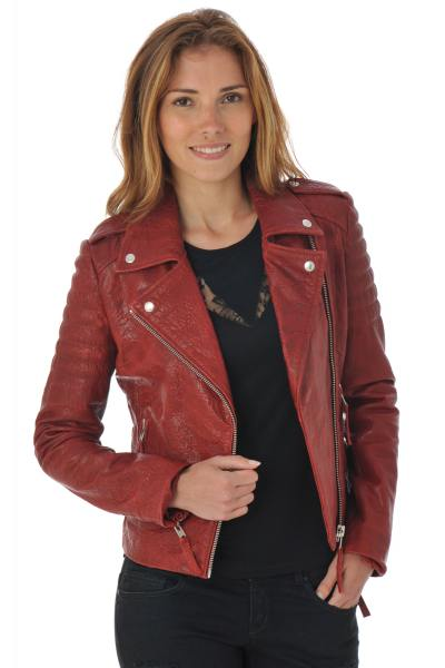 Blouson Femme Serge Pariente CITY GIRL QUILT DARK RED ZZ