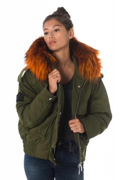 Blouson femme kaki avec capuche et fourrure en raccoon orange              title=