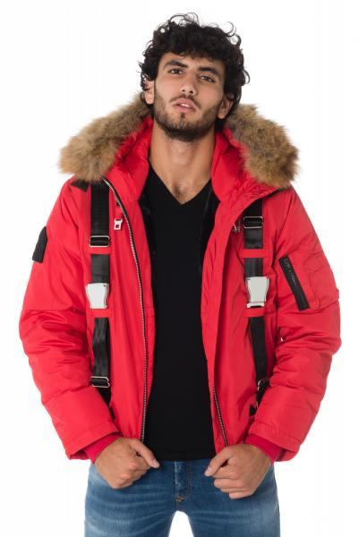Bomber à capuche rouge homme avec fourrure en raccoon              title=