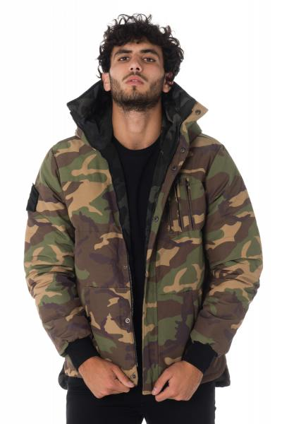 Blouson camouflage kaki et noir réversible              title=