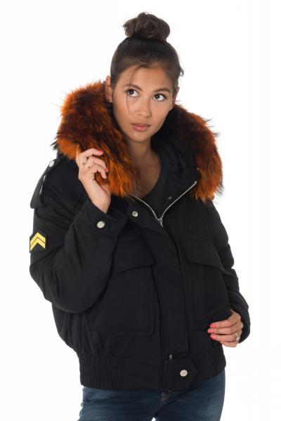 Blouson femme avec fourrure en raccoon orange              title=
