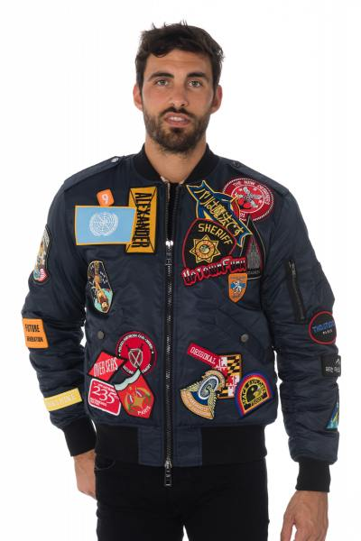 Bomber bleu marine avec patchs The New Designers              title=