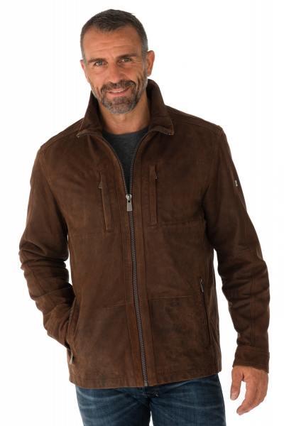 Blouson en cuir d'agneau marron              title=