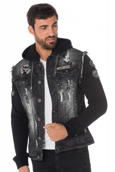 Veste en jean avec manche et capuche effet sweat Von Dutch              title=