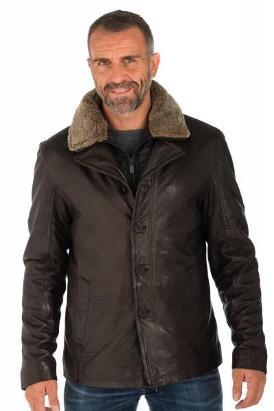 Veste en cuir de mouton avec col en laine d'agneau homme               title=