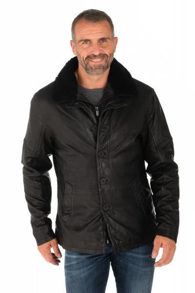 Veste en cuir de mouton noir avec col en laine              title=