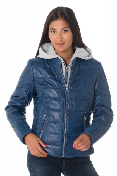Doudoune en cuir bleu avec capuche              title=