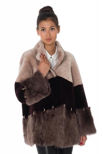 Veste femme en fourrure de mouton rose et bordeaux               title=
