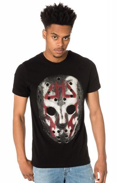 schwarzes Herren-Shirt mit Strass