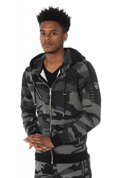 grau-camouflagefarbenes Reißverschluss-Sweatshirt Horspist