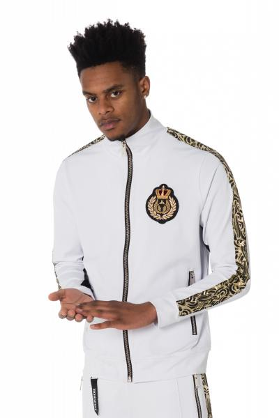 weiße Herren Trainingsjacke mit goldenen Streifen