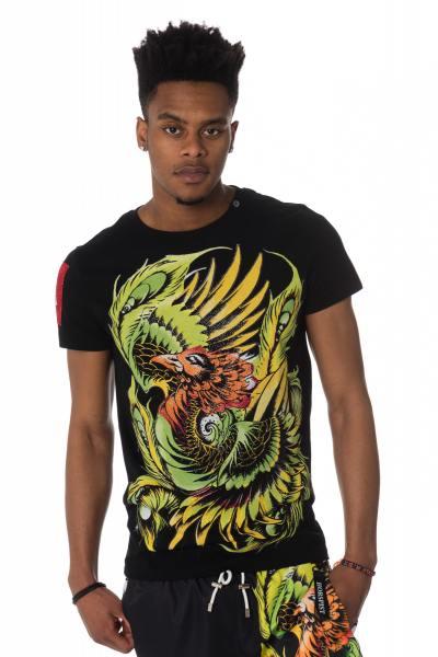 schwarzes Herren T-Shirt mit Phönix Motiv              title=