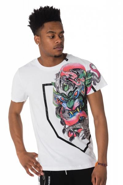 weißes Herren T-Shirt mit chinesischen Drachen              title=
