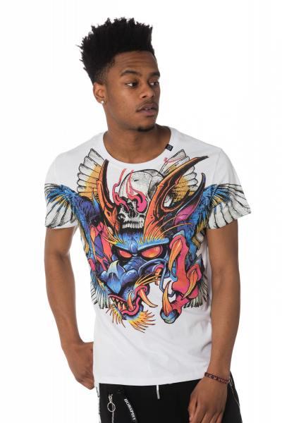 weißes Herren T-Shirt mit Drachenmotiv