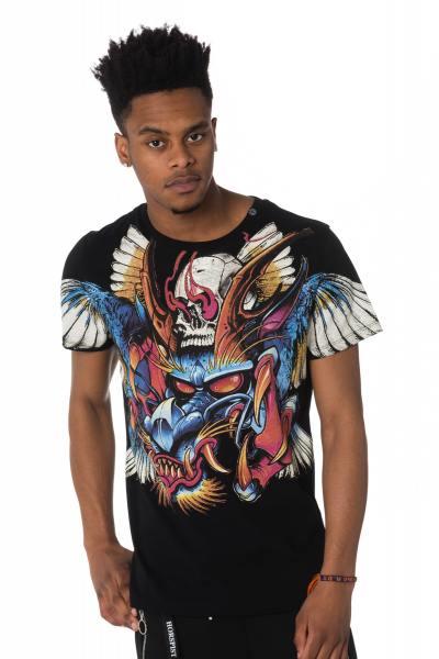 schwarzes Herren T-Shirt mit Drachenmotiv
