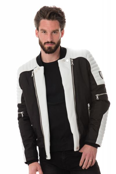 schwarz-weiße Jacke im Bomberjacken-Stil Horspist