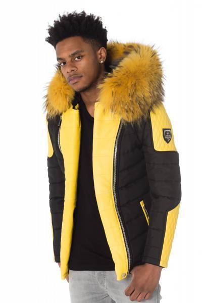 gelb-schwarze Horspist-Daunenjacke mit gelbem Fell