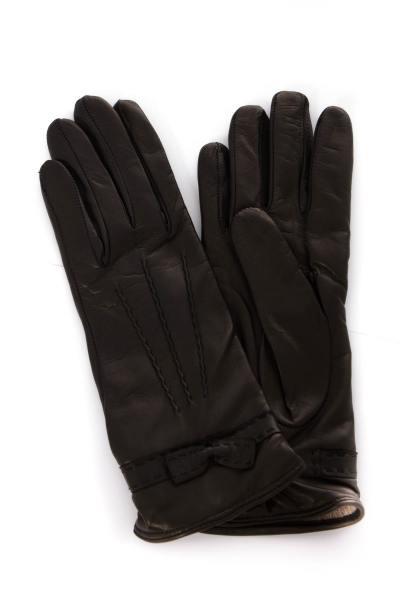 Damen-Handschuhe aus schwarzem Leder              title=