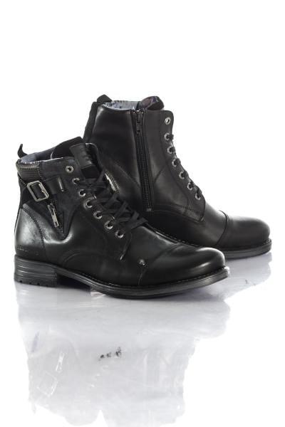Herren Boots in schwarzen Leder