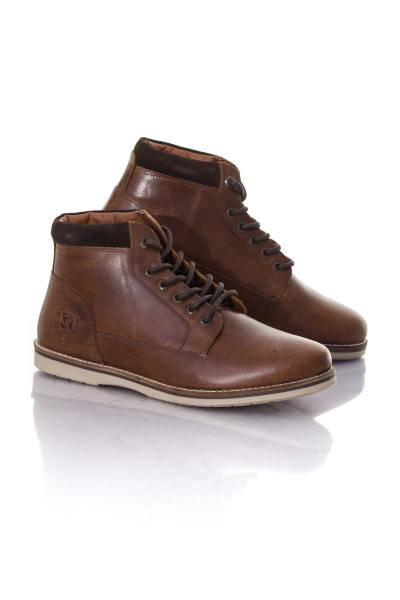 Bottines homme en cuir marron               title=