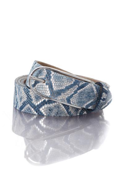 Ceinture femme effet serpent coloris bleu              title=