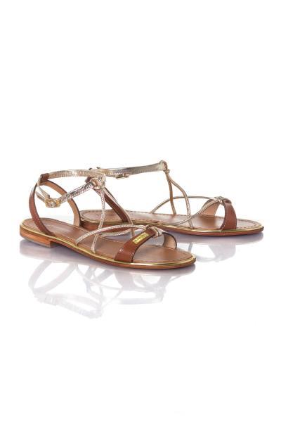 Sandales femme coloris or et tan