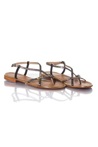Sandales femme noir et or