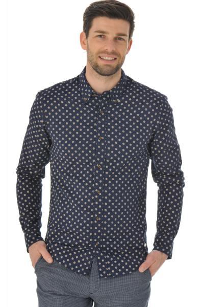 blaues Hemd mit Muschel-Print