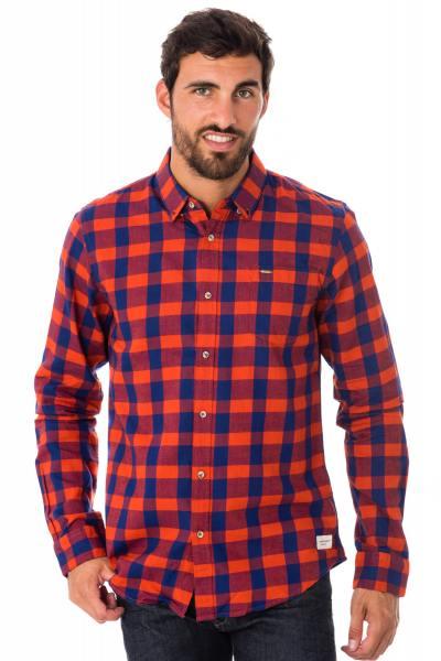 Chemise homme à carreaux bleu et rouge              title=