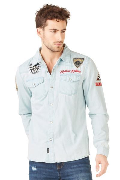 Chemise en jean patchée bleue clair