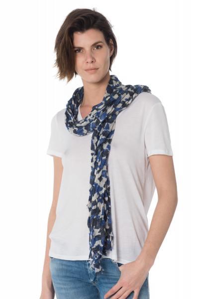 Echarpe bleue camouflage femme              title=