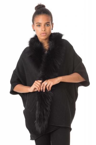 Châle en acrylique avec fourrure en raccoon noir              title=