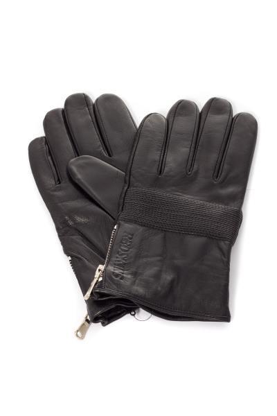 Herren-Handschuhe aus schwarzem Lammleder