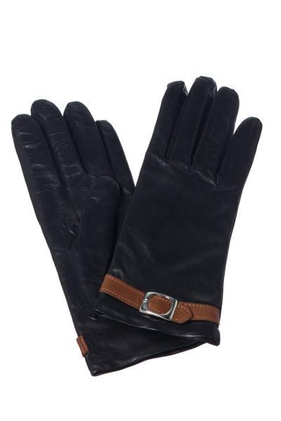 Handschuhe aus schwarzem Leder mit cognacfarbenem Riegel               title=
