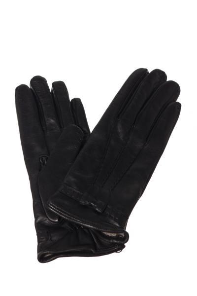 Handschuhe aus schwarzem Schafleder mit dekorativem Knoten              title=