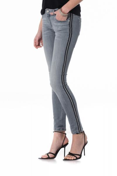 graue ausgewaschene Damen Slim Fit Jeans mit Streifen