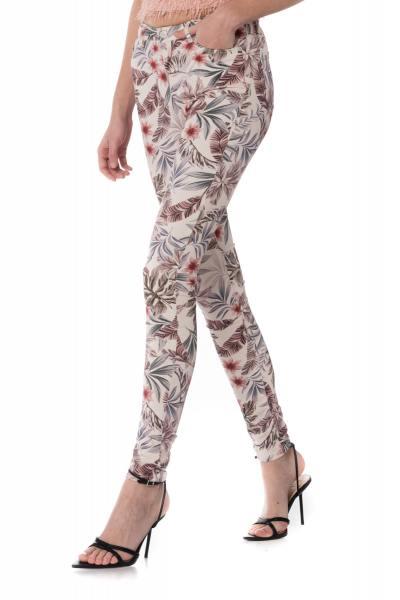 beige Damen Jeans mit floralen Allover-Druck
