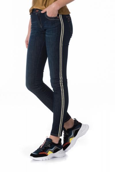 dunkelblaue Damen Skinny Jeans mit beigen Streifen
