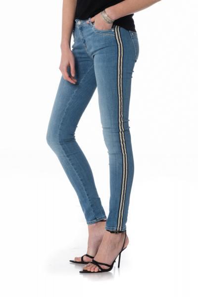 blaue Damen Slim Fit Jeans mit Streifen