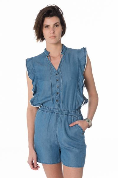 kurzer ärmelloser Damen Denim-Playsuit              title=